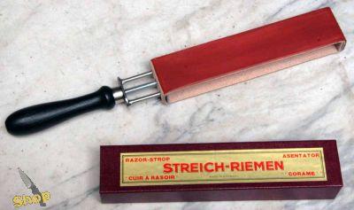 Spannriemen mit Griff 2seitig rot bepastet Rindleder